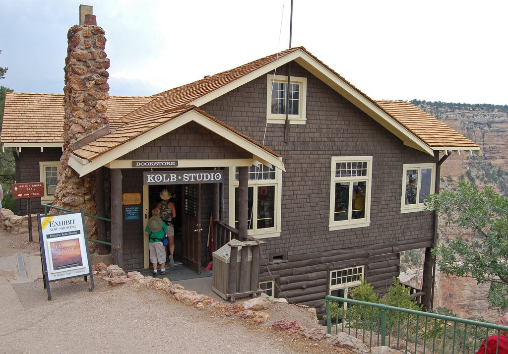 Photo of the Kolb Studio standing on the South Rim edge of the Grand Canyon National Park Historic District