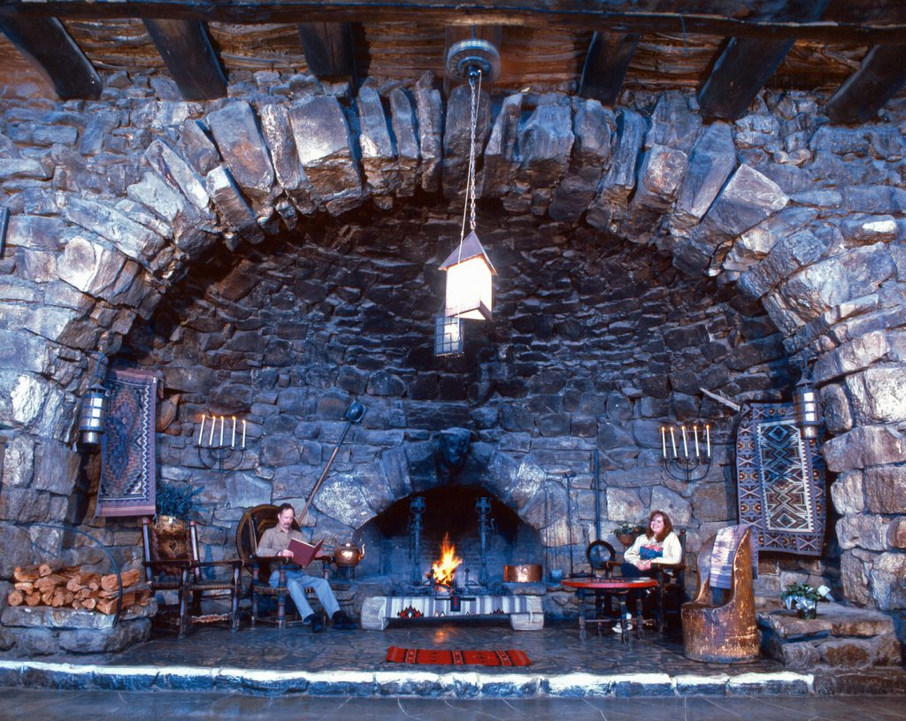THE GREAT FIREPLACE AT HERMITS REST.