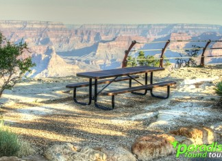 A lonely picnic bench stares out into the Grand Canyon