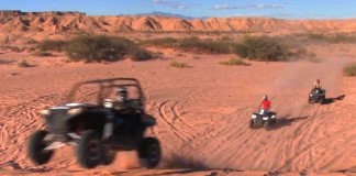 Tourists enjoy the amazing thrills of the Desert Adventure ATV tour