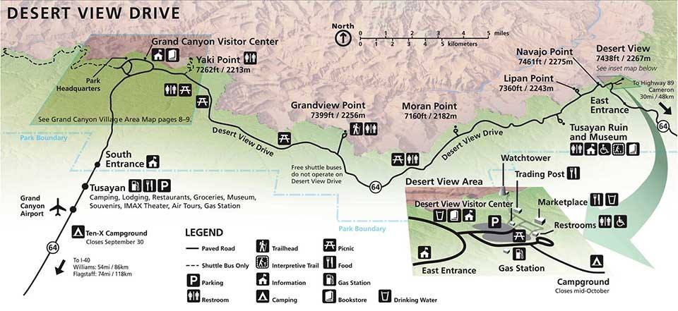 Map of the Grand Canyon Desert View Drive.