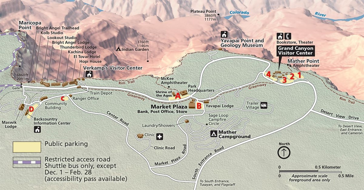 Viewpoints and parking map of the Grand Canyon South Rim.