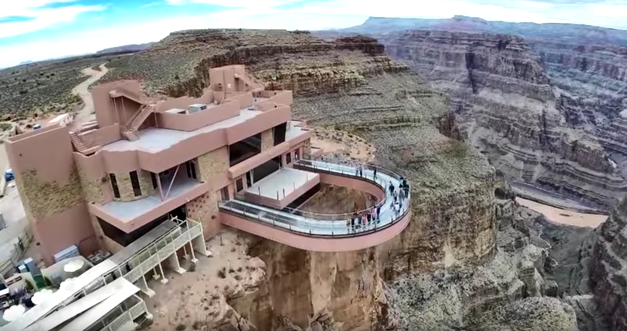Aerial view of the Skywalk at Grand Canyon West