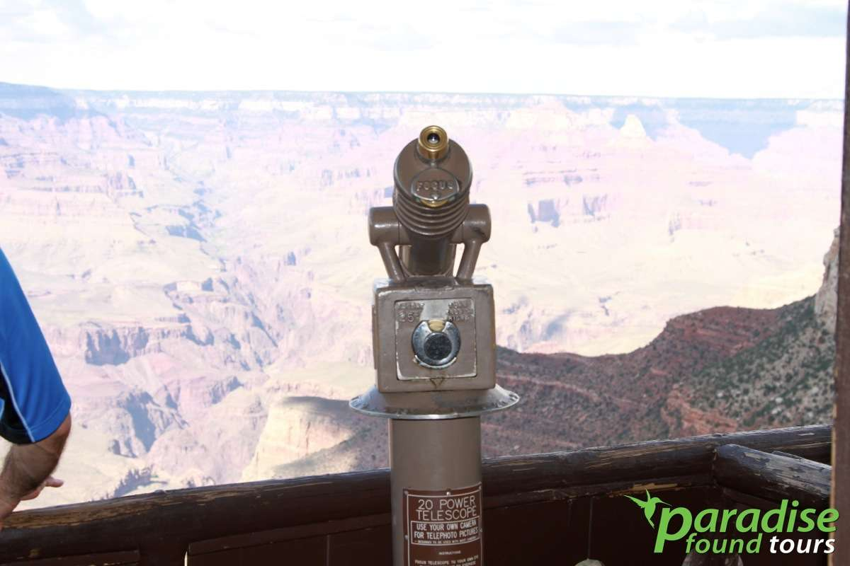 Many travelers get their first detailed look at the Grand Canyon via this telescope at Lookout Studio