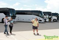 Passengers arriving by bus at the Grand Canyon South Rim